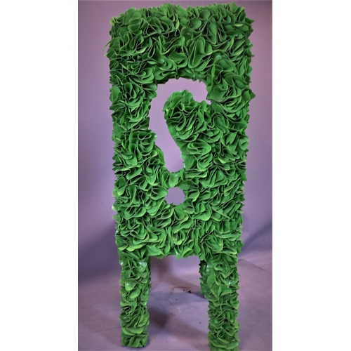 43 - An unusual green chair with all over green vinyl decoration, H.121cm...