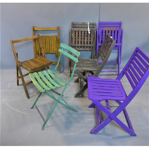 46 - Three pairs of folding garden chairs, togther with a single green folding garden chair, (7)...