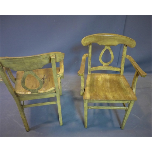 50 - A pair of distressed painted armchairs, raised on outswept legs, H.68cm (2)