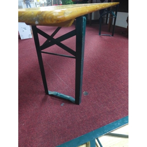 52 - A set of five benches, with folding legs, L.178cm (5)...