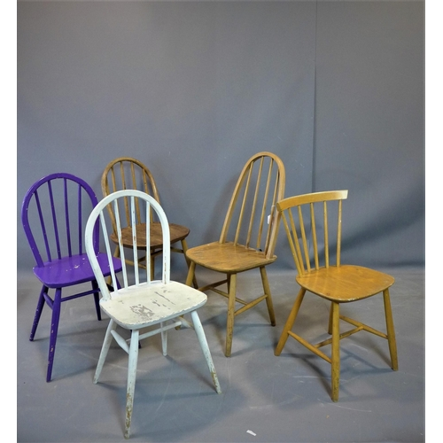 53 - A collection of five chairs, to include a 1960's purple painted Ercol chair (5)...