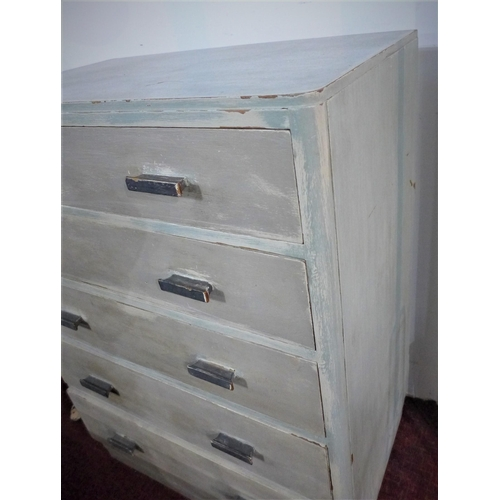 54 - A distressed grey painted chest of five drawers, on pedestal base, H.103 W.77 D.46cm