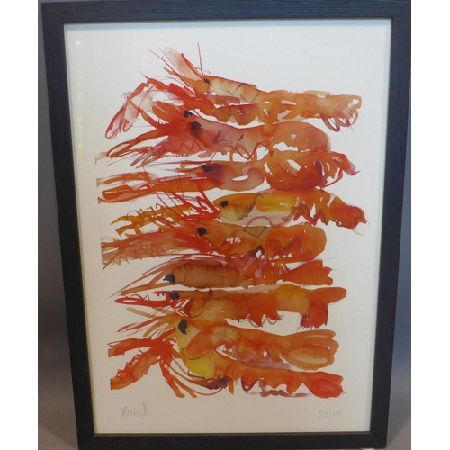 301 - Two prints of lobsters by the same artist, indistinctly signed in pencil, each numbered 53/100 and 6...