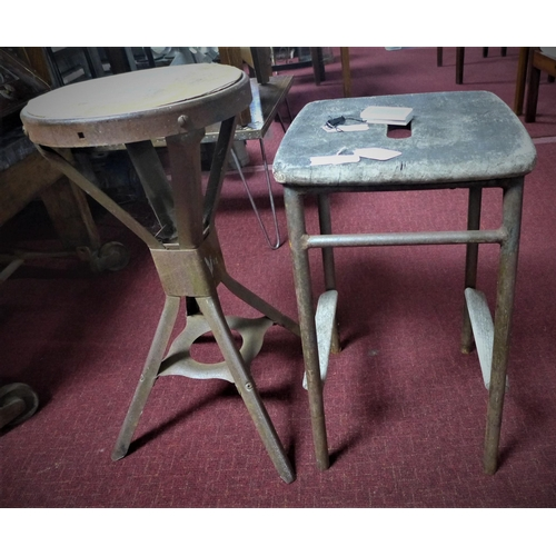 57 - A vintage stool, H.55 W.32 D.32cm, together with an Industrial stool, H.62cm Diameter 31cm...