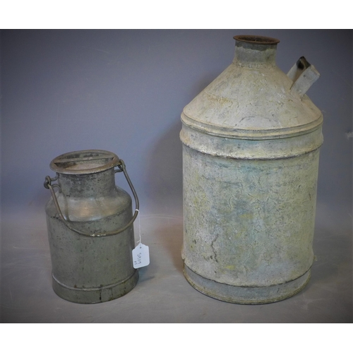 243 - A vintage metal container, H.53cm, together with a vintage metal milk pail, H.29cm...
