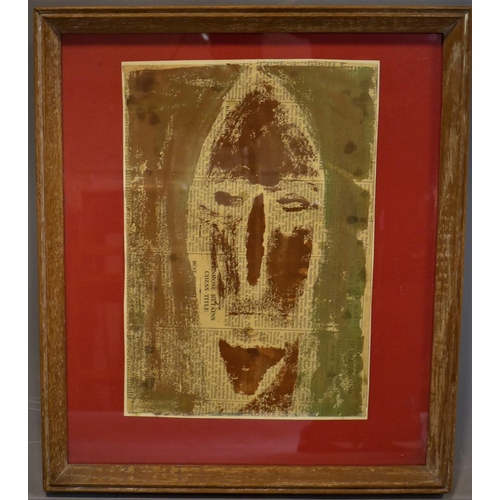 271 - Carol Burns (British school), African Tribal Mask, painting on newsprint, framed and glazed, 29 x 20...