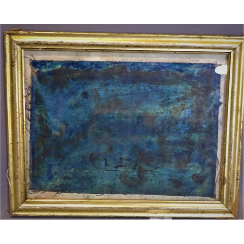 272 - An abstract oil on canvas in blue and green, in glazed giltwood frame, 23 x 32cm...