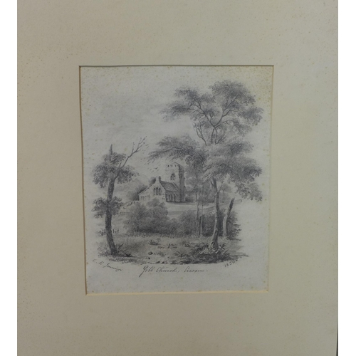 260 - C. H. Jennings (19th century school), 'Gill Church, Haven', pencil sketch, signed, titled and dated ...