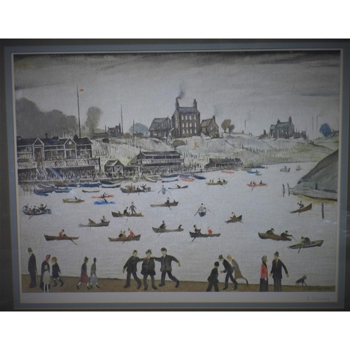 302 - Laurence Stephen Lowry RBA RA (British, 1887-1976), 'Crime Lake', Colour offset lithograph, signed i...