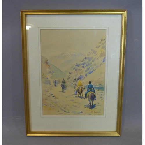279 - R. A. Hayrapetian (20th century Iranian school), Travellers on horseback on a mountain trail, signed...