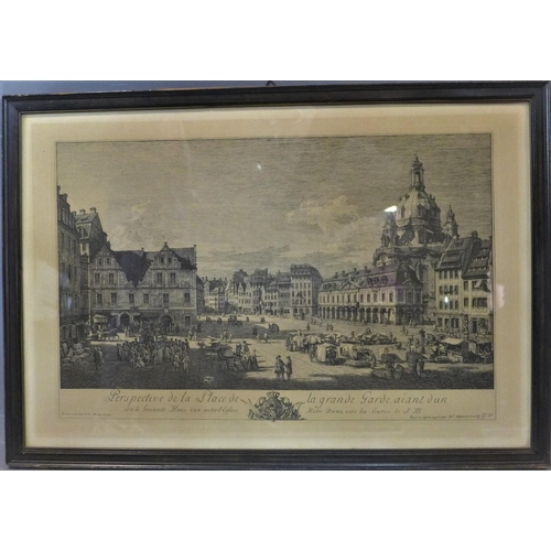 303 - A 20th century reproduction of an engraving of Notre Dame, after Bellotto, framed and glazed, 132 x ...
