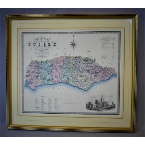 304 - A reproduction printed map of Sussex, after H. J. Frost, framed and glazed, 32 x 38cm...