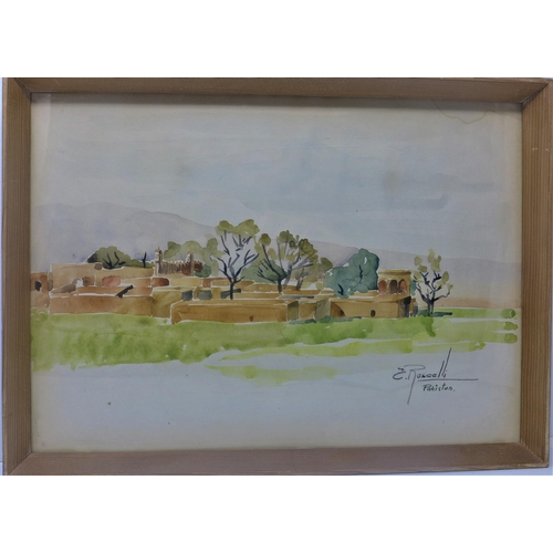 281 - E. Roscalli, View of a Pakistani town, watercolour, signed lower right, framed and glazed, 27 x 38cm...