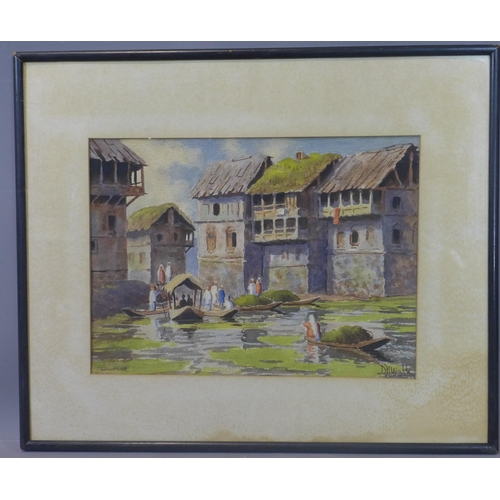 282 - An Indian watercolour of figures in boats with houses to background, watercolour, signed Duwalli (?)...