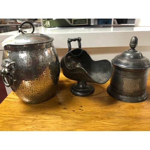 245 - A collection of pewter wares, including a 19th century tobacco jar by John Warne, a early 20th centu...