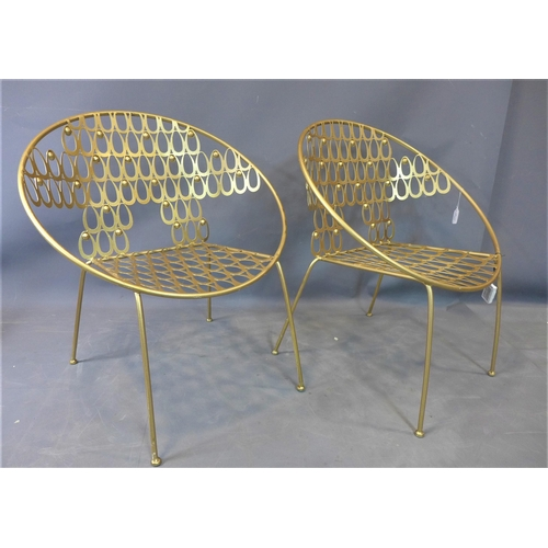150 - Two contemporary gilt metal cocktail chairs with pierced seats and backrests, H.75cm, together with ...