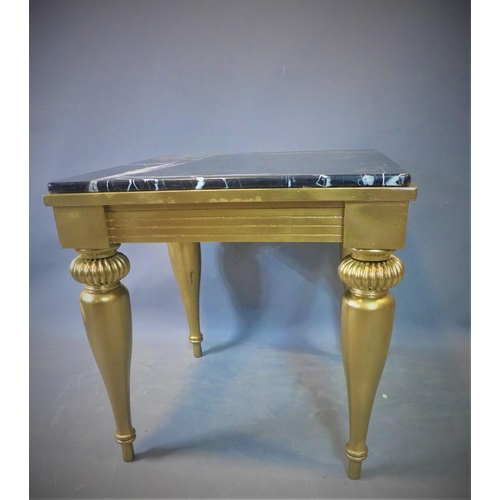 153 - A contemporary occasional table with marble top, on gilt painted base with gadrooned and tapering le...