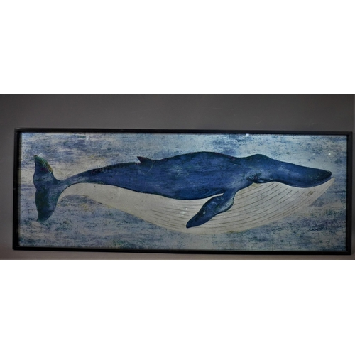 306 - A print on glass of a whale, framed, 41 x 118cm...