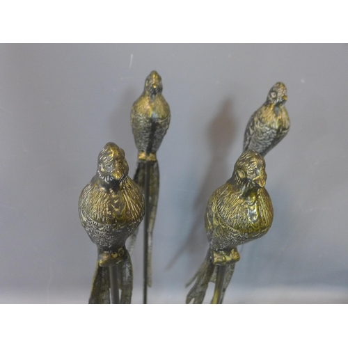 157 - A set of four bronzed birds on stands, raised on circular spreading bases, H.84cm...