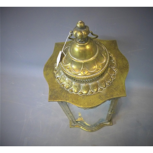 224 - A contemporary gilt metal serpetine storm lantern, H.69cm...