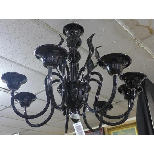 225 - Black Murano glass chandelier, eight arms, eight leaves, H. 65cm, Diameter 85cm...
