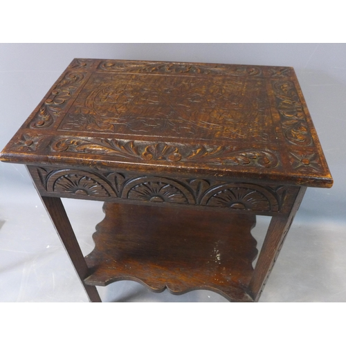 31 - An early 20th century side table, with lower tier, on outswept feet...