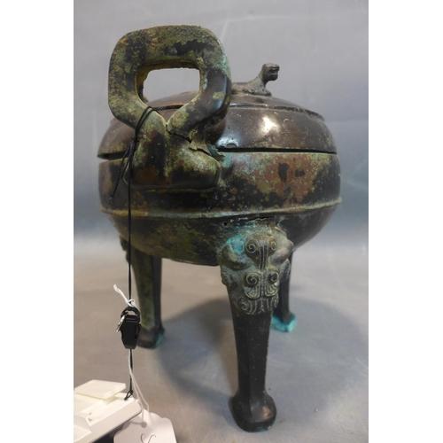 26 - Large bronze incense burner, Han dynasty (Warring states), 200 BC - 200 AD, H 26, Diameter 22 cm...
