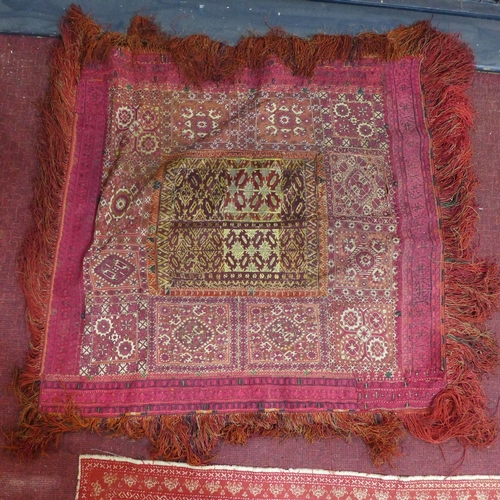 202 - Group of four antique middle eastern textiles, various dimension, max 100 x 100 cm...