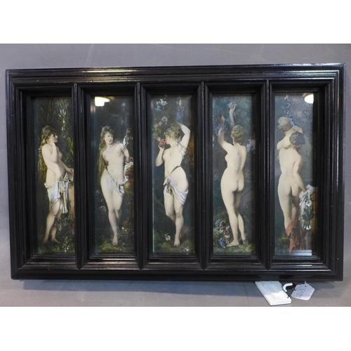 407 - A set of 5 colour prints of nude nymphs in Classical poses, in pentaptych ebonised frame, 43 x 68cm ...