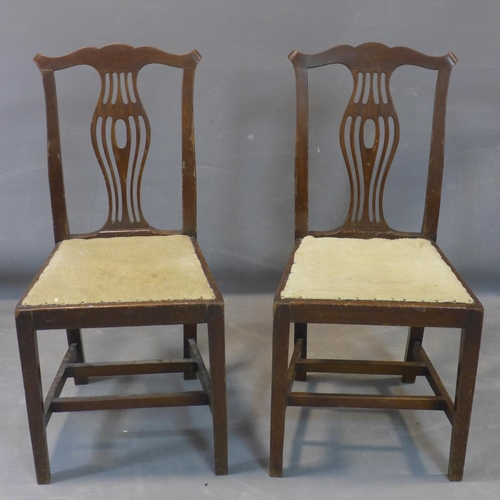 590 - A pair of Edwardian Hepplewhite style mahogany dining chairs, with shaped back splats and shaped top...