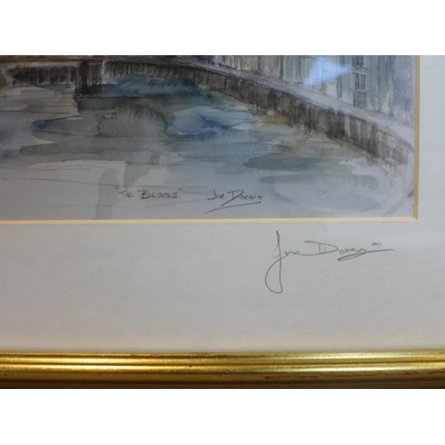 611 - Jim Doran, The Tyne Bridge, watercolour, signed and dated on the back '24/12/04', framed and glazed,...