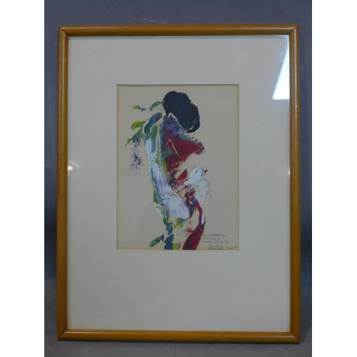 613 - Antonin Fernandez (20th century Spanish School), Lady with bird, tempera and ink on paper with, sign...