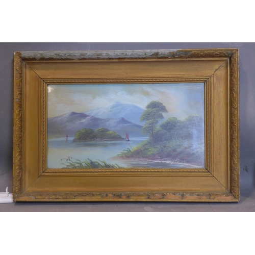 615 - 20th century British school, Boats on a lake with Mountains to backgroud, oil, framed and glazed (ch...