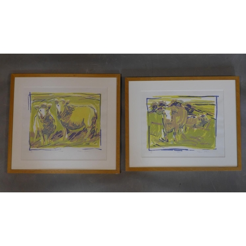 616 - Helena Greene, two limited edition screen prints, 'Cows', signed, titled and numbered 12/16 in penci...