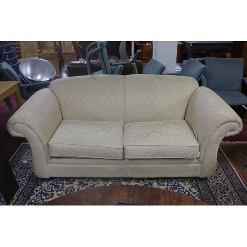 650 - WITHDRAWN-A Som'Toile sofa bed with cream floral upholstery, H.85 W.198 D.92cm...