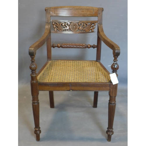 656 - A 19th century mahogany armchair, with caned seat and scroll arms, having back splat carved with pea...