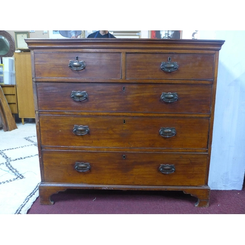 663 - A 19th century mahogany chest of 2 short over three long graduated drawers, raised on bracket feet, ...