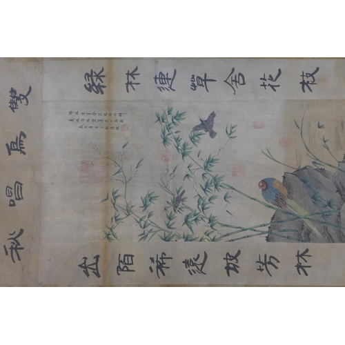 671 - A Chinese print of birds amongst bamboo trees, with Chinese inscription, in wall hanging scroll, 112...