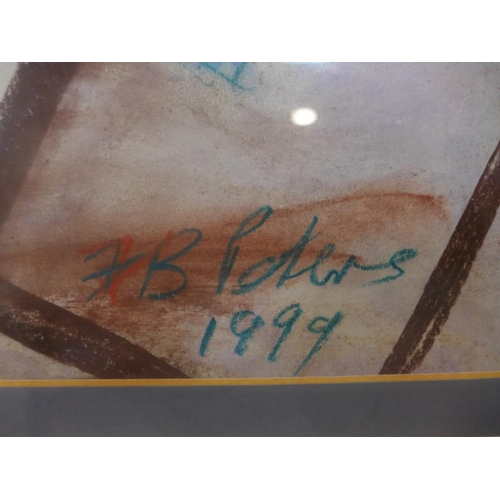 675 - Contemporary British school, View of an interior, pastel on paper, signed and dated '1999', framed a...