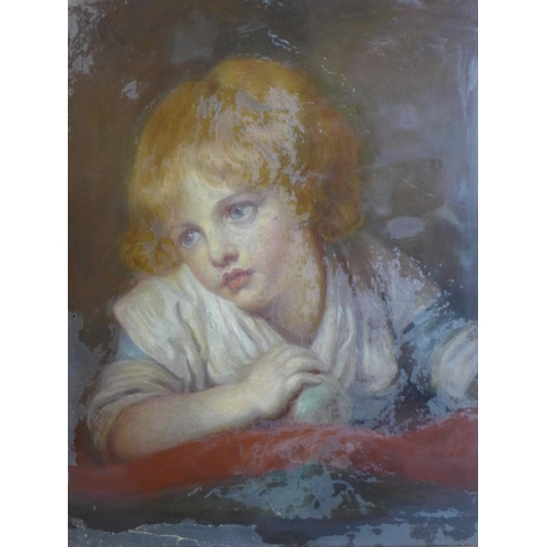 677 - A 19th century French oil on canvas of a child holding an apple, framed and glazed, 44 x 34cm, with ...