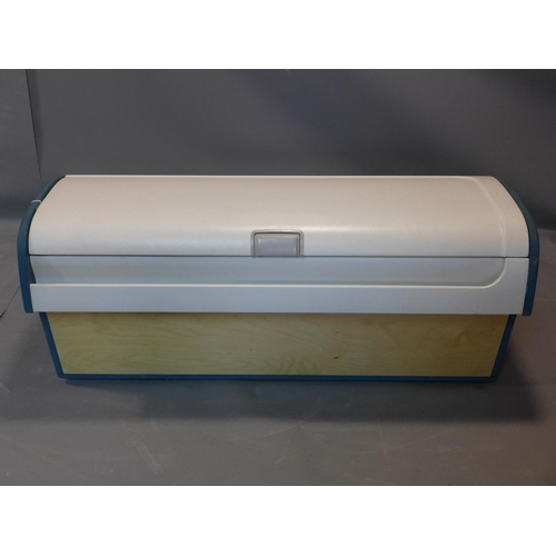 694 - A storage box from a Boeing 737 by Aircraft Workshop, with hinged lid, painted sides and stamped to ...