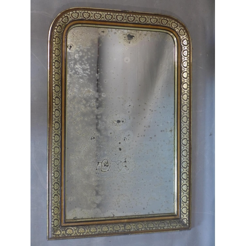711 - A French Empire mirror with gilt painted and floral carved frame and ghosted glass plate, 100 x 66cm...