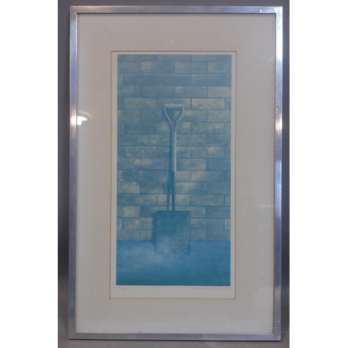718 - Modern English school, print of a shovel, framed and glazed, numbered signed and date, 1978, overall...