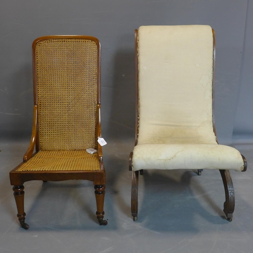 743 - A 19th century mahogany caned chair, on turned legs and castors, 91 x 45cm, together with a 19th cen...