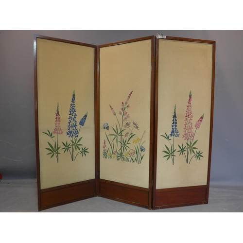 744 - A 19th century three panel folding room screen, the panels embroidered with flowers, H.158 W.59cm (e...