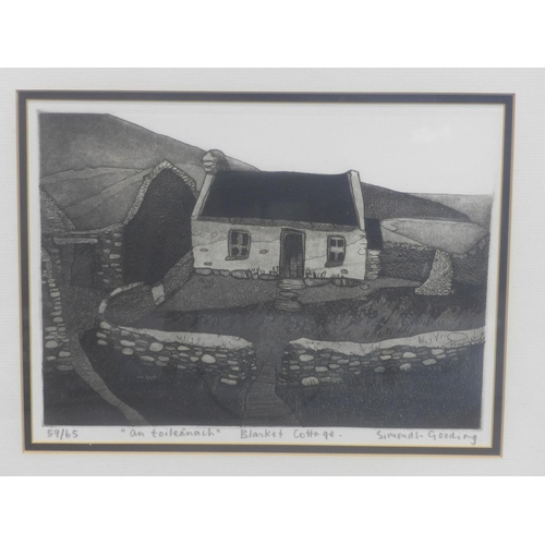 764 - Maria Simonds-Gooding ARHA (b.1939), 'An Toileanach' 'Blasket Cottage', etching and aquatint, framed...