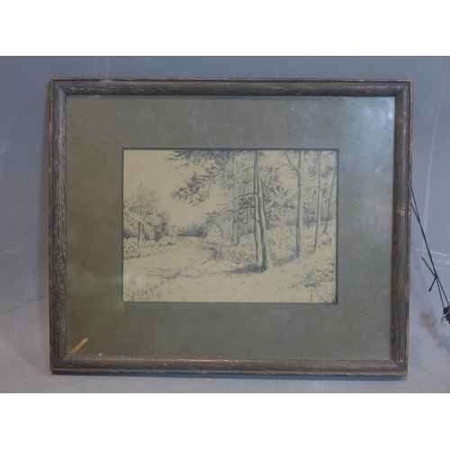 779 - British School 19th century, Landscape, ink on paper, framed and glazed, 23 x 29 cm...