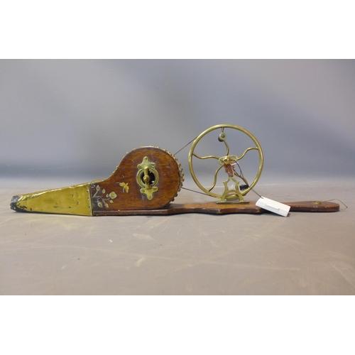 802 - Antique Victorian brass mechanical peat bellows, brass, oak with inlaid bone decorations of butterfl...