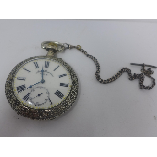 500 - Doxa Anti-Magnetique Pocket Watch, Silver plated, Large open face with the engraved figure of a mine...