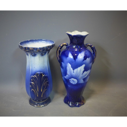 501 - Two blue vases, 20th century...